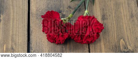 Banner With Two Red Carnations On A Wooden Background. Two Carnations As A Symbol Of Grief And Death