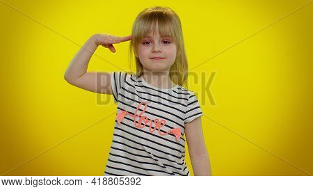 Yes Sir. Subordinate, Responsible Serious Teen Child Kid Girl Giving Salute Listening To Order As If