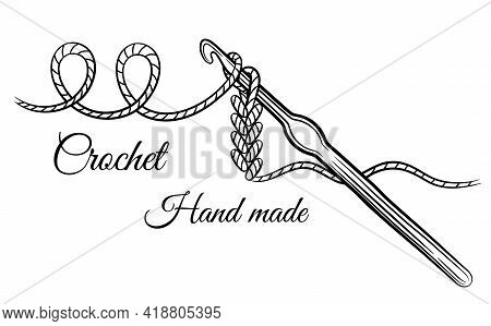 Crochet Knitting Sign. Crocheting Hook With Yarn Thread. Steel Accessory For Hand Made Knit. Hobby C