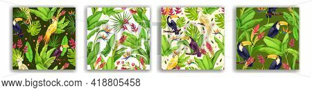 Jungle Tropical Vector Seamless Pattern Set, Exotic Paradise Summer Background, Toucan, Parrot. Wild