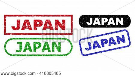 Japan Grunge Watermarks. Flat Vector Distress Seals With Japan Slogan Inside Different Rectangle And