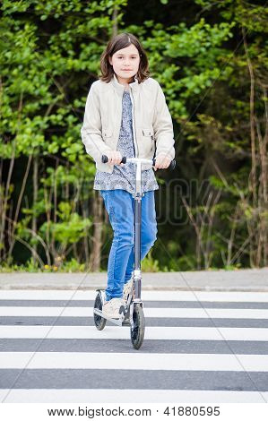 Girl On Crosswalk