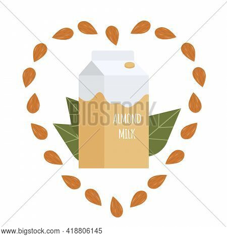 Almond Milk In A Paper Pack. Lactose Free Vegan Milk. Packaging. Vector Hand Drawn Illustration In C