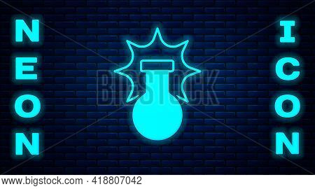 Glowing Neon Chemical Experiment, Explosion In The Flask Icon Isolated On Brick Wall Background. Che
