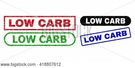 Low Carb Grunge Stamps. Flat Vector Grunge Stamps With Low Carb Message Inside Different Rectangle A