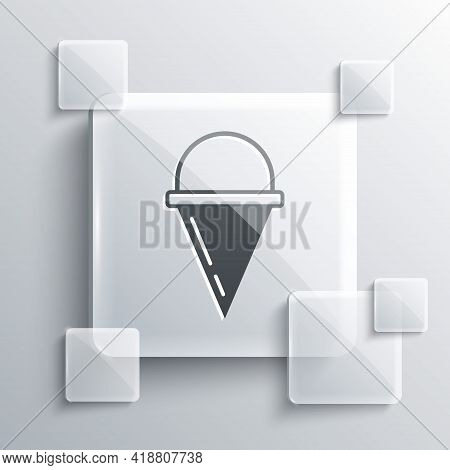 Grey Fire Cone Bucket Icon Isolated On Grey Background. Metal Cone Bucket Empty Or With Water For Fi
