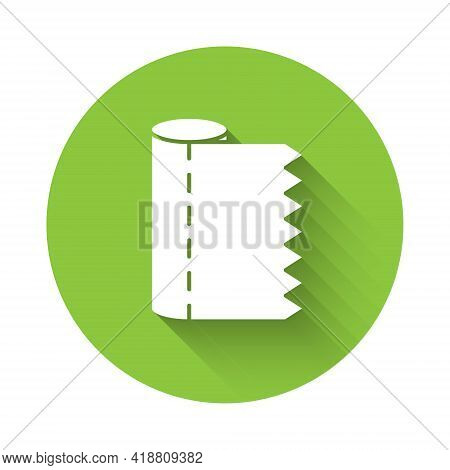White Textile Fabric Roll Icon Isolated With Long Shadow. Roll, Mat, Rug, Cloth, Carpet Or Paper Rol