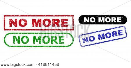 No More Grunge Seal Stamps. Flat Vector Textured Seal Stamps With No More Caption Inside Different R