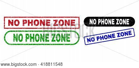 No Phone Zone Grunge Seals. Flat Vector Scratched Seals With No Phone Zone Phrase Inside Different R