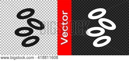 Black Medical Hemoglobin Erythrocytes Icon Isolated On Transparent Background. Vector
