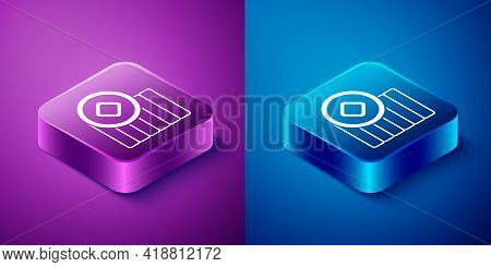 Isometric Chinese Yuan Currency Symbol Icon Isolated On Blue And Purple Background. Coin Money. Bank