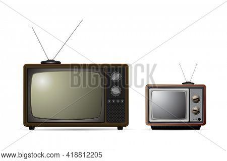 Old tv with antenna icon set. Retro tv icon isolated on white background.