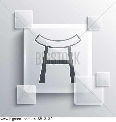 Grey Japan Gate Icon Isolated On Grey Background. Torii Gate Sign. Japanese Traditional Classic Gate