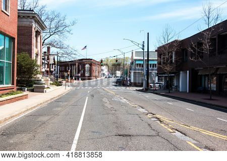 WESTPORT, CT, USA - APRIL 19, 2021:  US Route 1 in spring day with business buildings near Main street with Patagonia store