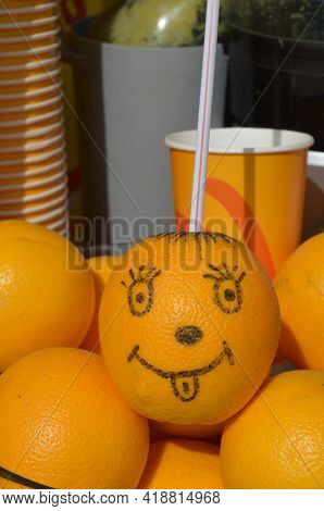 Cute Smiling Happy Orange With Lemonade, Juice Character Concept.