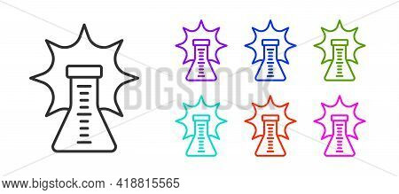 Black Line Chemical Experiment, Explosion In The Flask Icon Isolated On White Background. Chemical E