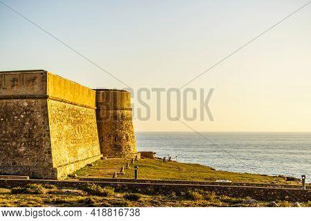 Coastal Fortification, Castle Near The Town Of Los Banos De Guardias Viejas, Almer