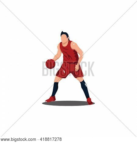 Basket Ball Athlete Keeping Or Holding The Ball On A Game - Illustrations Of Basket Ball Player Keep