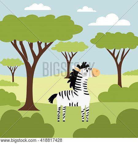 Cute Little Zebra In The Wild Savanna. Hand-drawn Cartoon Vector Illustration For Childrens Books, P