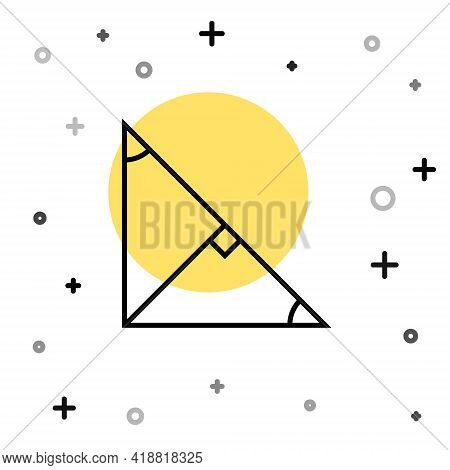 Black Line Angle Bisector Of A Triangle Icon Isolated On White Background. Random Dynamic Shapes. Ve