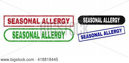 Seasonal Allergy Grunge Seal Stamps. Flat Vector Grunge Stamps With Seasonal Allergy Tag Inside Diff