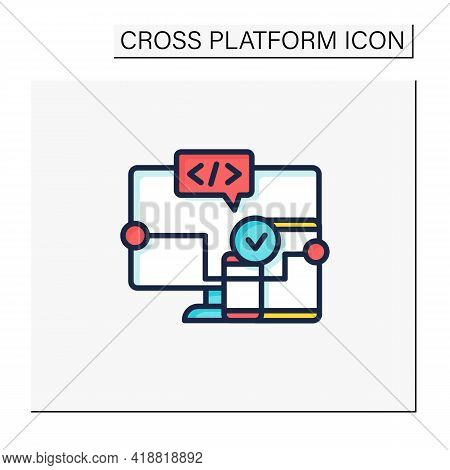 Cross Platform Software Color Icon. Implemented On Multiple Computing Platforms. Programming Environ