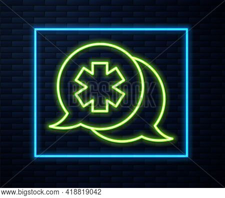 Glowing Neon Line Dialogue With The Doctor Icon Isolated On Brick Wall Background. Doctor And Patien