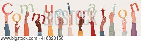 Arms Raised Of Group Of Diverse Multiethnic People Holding Letters In Hand Forming The Word Text Com