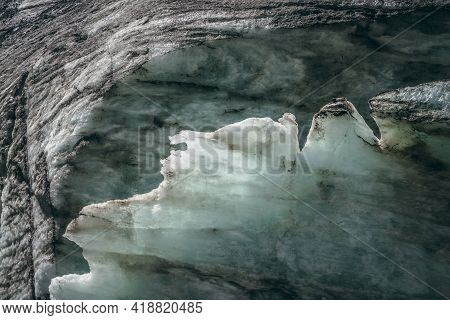 Minimalist Nature Background Of Glacier Surface With Cracks And Scratches. Minimal Natural Backdrop