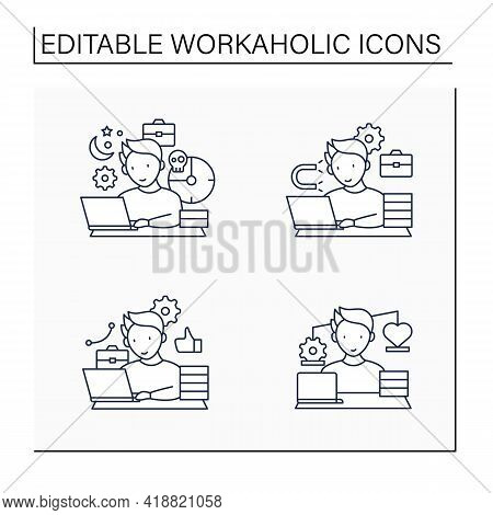 Workaholic Line Icons Set. Workaholism Prevention, Consequences. Conduct Rules. Overworking Concept.