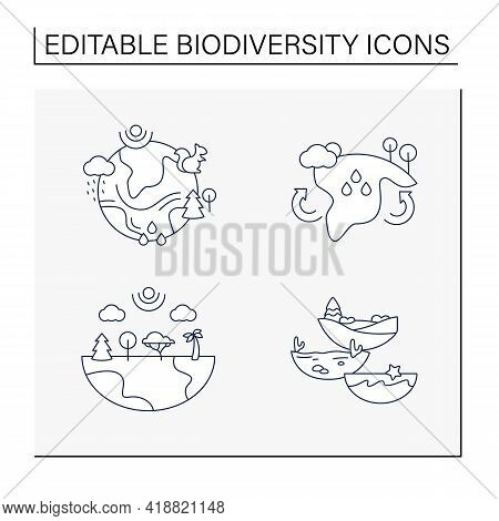 Biodiversity Line Icons Set.reduce Air Pollution. Fighting Global Warming. Saving Flora And Fauna.sp