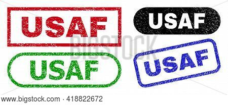 Usaf Grunge Stamps. Flat Vector Grunge Seal Stamps With Usaf Text Inside Different Rectangle And Rou