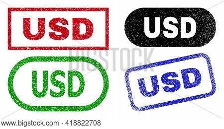 Usd Grunge Watermarks. Flat Vector Grunge Watermarks With Usd Tag Inside Different Rectangle And Rou