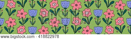 Cute Springtime Vector Seamless Pattern With Simple Flower Doodles On Green Background. Childish Swe