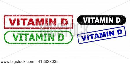 Vitamin D Grunge Seal Stamps. Flat Vector Distress Stamps With Vitamin D Slogan Inside Different Rec