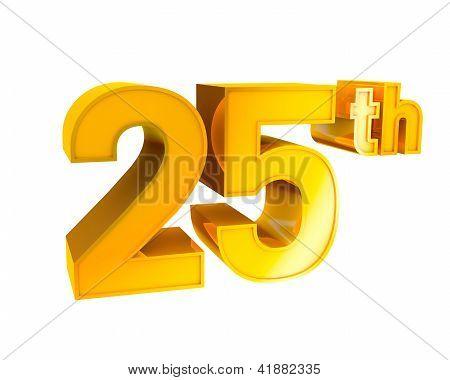 Gold Alphabet Anniversary 25