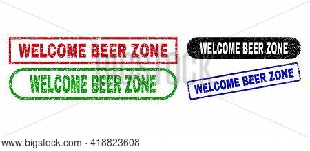 Welcome Beer Zone Grunge Seals. Flat Vector Grunge Watermarks With Welcome Beer Zone Message Inside