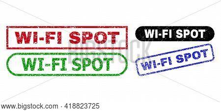 Wi-fi Spot Grunge Watermarks. Flat Vector Grunge Watermarks With Wi-fi Spot Tag Inside Different Rec