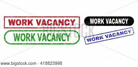Work Vacancy Grunge Seal Stamps. Flat Vector Grunge Stamps With Work Vacancy Text Inside Different R