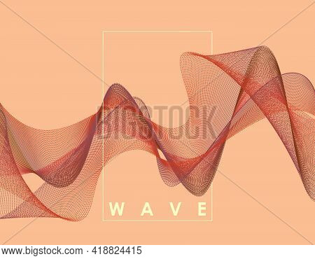 Abstract Wave With Connected Dots. Digital Background With Particles. 3d Grid Surface In Technology