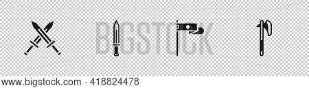 Set Crossed Medieval Sword, Medieval, Flag And Axe Icon. Vector
