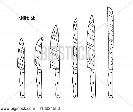 Universal Kitchen Knife Isolated On White Background. Stainless Steel Kitchen Knife For Cutting Diff