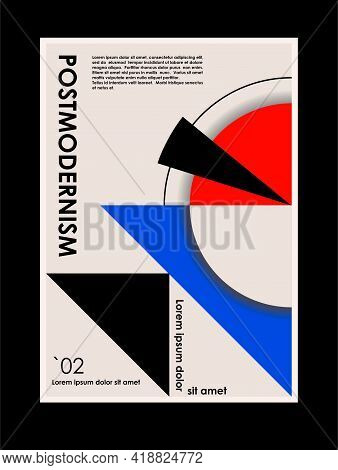 Artwork, Poster Inspired Postmodern Of Vector Abstract Dynamic Symbols With Bold Geometric Shapes, U