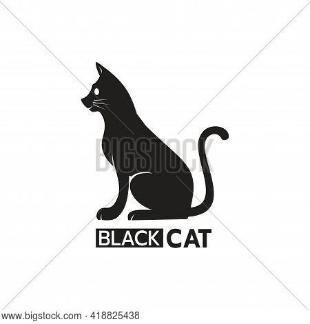 Beautiful Logo Icon Cat, Stylized Image Of Black Cat Logo Template, Cat Silhouette Tattoo, Pet Care