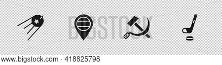 Set Satellite, Location Russia, Hammer And Sickle Ussr And Ice Hockey Stick Puck Icon. Vector