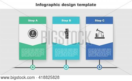 Set Rouble, Ruble Currency, Birch Tree And Oil Pump Or Pump Jack. Business Infographic Template. Vec