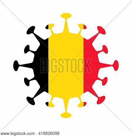 Flag Of Belgium In Virus Shape. Country Sign. Vector Illustration.
