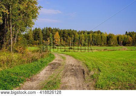 Rural Russia. Beautiful Autumn Landscape. Scenic Dirt Road In Green Meadow, Leningrad Region, Russia