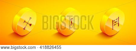 Set Isometric Arrow With Sucker Tip, Shovel Toy And Abacus Icon. Vector
