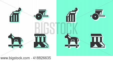 Set Parthenon, Broken Ancient Column, Trojan Horse And Ancient Chariot Icon. Vector